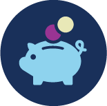 An icon representing Financial and Insurance Services, consisting of a piggybank with two non-denominational coins dropping into it